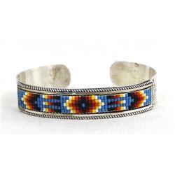Navajo Sterling & Seed Bead Cuff Bracelet
