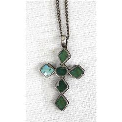 Vintage Navajo Sterling Turquoise Cross Necklace