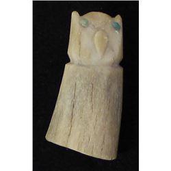 Vintage Zuni Carved Antler Owl Fetish
