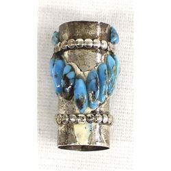 Navajo Sterling Turquoise Barrel Bead Pendant