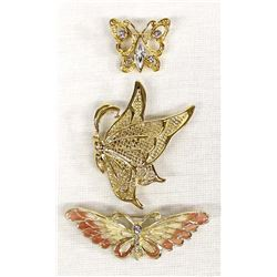 3 Butterfly Brooches
