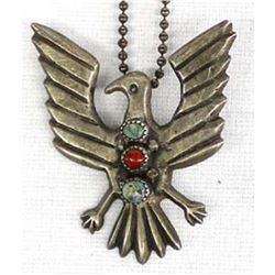 Vintage Navajo Sterling Eagle Pendant Necklace