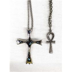 2 Vintage Cross Pendant Necklaces