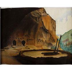 Vintage Original Pueblo Watercolor Painting