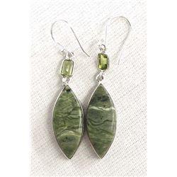 Sterling Imperial Opal & Green Peridot Earrings