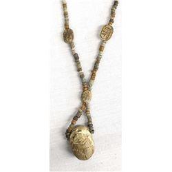 Vintage Egyptian Carved Scarab Necklace