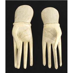 Pair of Carved Satinwood Hands