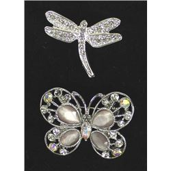 2 Vintage Butterfly and Dragonfly Brooches