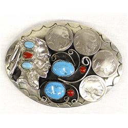 Large Turquoise Coral Belt Buckle by Squaw Wrap