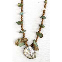 Antique Estate Natural Turquoise Abalone Necklace