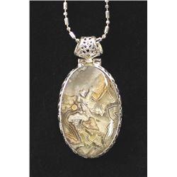 Mexican Silver Laguna Lace Agate Pendant Necklace