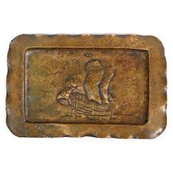 Antique Copper Sailing Ship Tray