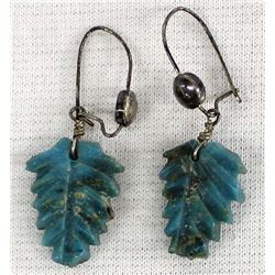 Antique Zuni Carved Turquoise Leaf Earrings