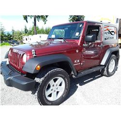 C6C --  2009 JEEP WRANGLER X, RED, 258,633 KMS
