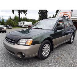 A12 --  2000 SUBARU LEGACY OUTBACK AWP , Green , 311077  True Mileage Unknown  KM's