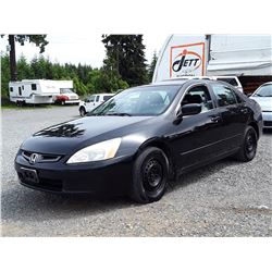 A7 --  2003 HONDA ACCORD LX , Black , 304238  KM's
