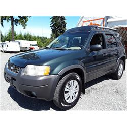 A9 --  2005 FORD ESCAPE XLT, GREEN, 221,198 KMS