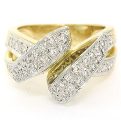 18K Yellow Gold & Platinum .46 ctw Pave Set Diamond Open Swirl Cocktail Ring Sz