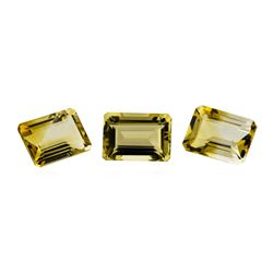 21.21 ctw.Natural Emerald Cut Citrine Quartz Parcel of Three