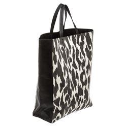 Celine Leopard Printed Jute Vertical Cabas Tote Bag