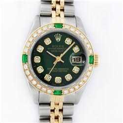 Rolex Ladies 2 Tone Green Diamond & Emerald Datejust Wristwatch