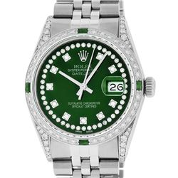 Rolex Mens Stainless Steel Green Diamond Lugs & Emerald Datejust Wristwatch