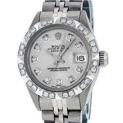 Rolex Ladies Stainless Steel Silver Pyramid Diamond Datejust Wristwatch