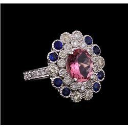 14KT White Gold 2.24 ctw Tourmaline, Sapphire and Diamond Ring