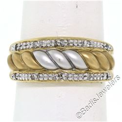 14kt Yellow and White Gold Dual Row Diamond and Matte Ribbed Dome Band Ring