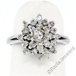 Antique 14kt White Gold 0.78 ctw Old Mine and Single Cut Diamond Cluster Ring