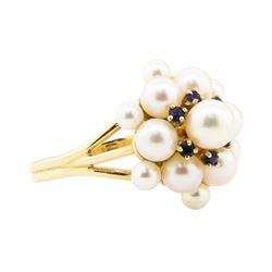 0.10 ctw Blue Sapphire and Pearl Cluster Ring - 14KT Yellow Gold