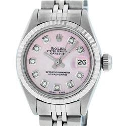 Rolex Ladies Stainless Steel Pink Diamond Gold Bezel Datejust Wristwatch