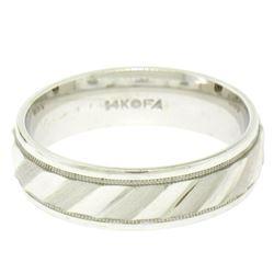 Frederick Goldman Men's 14K White Gold 6.1mm Texture Milgrain Eternity Band Ring