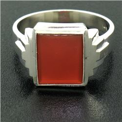 Men's Antique 14k White Gold Rectangular Cut Carnelian Solitaire Ring Size 10.5