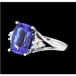 3.40 ctw Tanzanite and Diamond Ring - 14KT White Gold