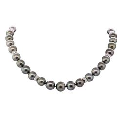 0.67 ctw Diamond and Tahitian Pearl Necklace - 14KT White Gold