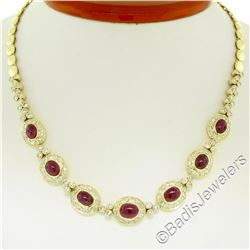18kt Yellow Gold 14.49 ctw Ruby and Diamond Collar Statement Necklace