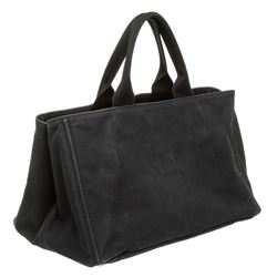 Prada Dark Blue Canvas Large Canapa Tote Bag