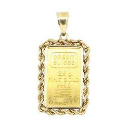 Credit Suisse Pendant - 14KT - 24KT Gold