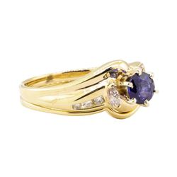 0.93 ctw Blue Sapphire and Diamond Ring Set - 14KT Yellow Gold
