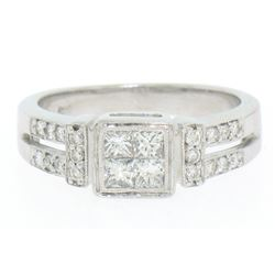 Modern 18k White Gold Princess & Pave Diamond Band Ring in Invisible Setting