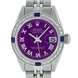 Rolex Ladies Stainless Steel Purple Diamond & Sapphire Datejust Wristwatch