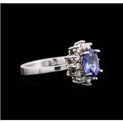 14KT White Gold 1.06 ctw Tanzanite and Diamond Ring