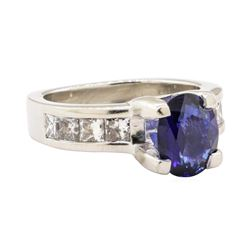 3.01 ctw Blue Sapphire And Diamond Ring - Platinum
