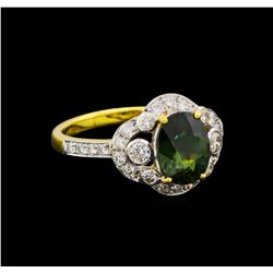 2.45 ctw Green Sapphire and Diamond Ring - 18KT Yellow Gold