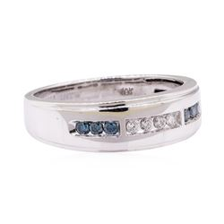 0.70 ctw Blue and White Diamond Ring - 10KT White Gold