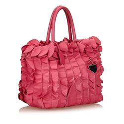 Prada Ruffle Satin Tote Bag