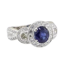 3.52 ctw Sapphire and Diamond Ring - 18KT White Gold