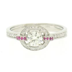 14k Solid White Gold 0.85 ctw Round Pave Set Diamond & Pink Sapphire Halo Ring