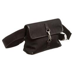 Gucci Black Canvas Leather GG Waist Bag